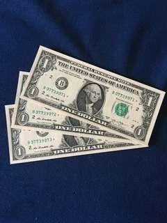 ⭐️ United States $1 Replacement * Notes 3 runs ~ Unc !