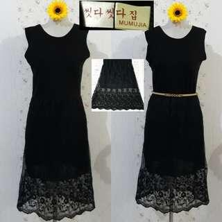 🇰🇷KOREAN LONG DRESS WITH EMBROIDERED MESH