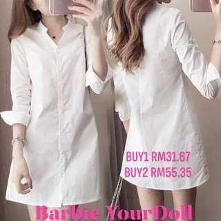 Women Girl Fashion White Long Sleeve V Neckline Slim Shirt Dress