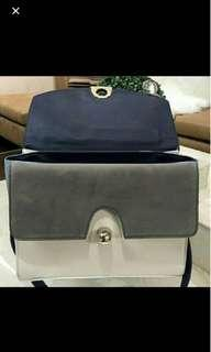 zara blue office contrasting bag tas