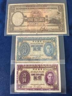 ⭐️ Very Old Hong kong Banknotes <R794442~$1~1936> <G768528~$5~1937~rare date~large size note> <F/1 655312~$1~1941>