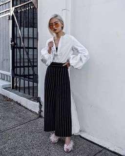 factorie pinstripe black culottes