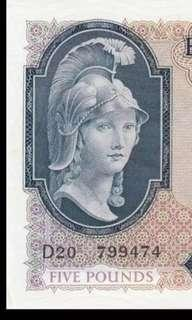 1961 Bank Of England £5 Helmeted Britannia ~  Unc (Just for Sharing !)