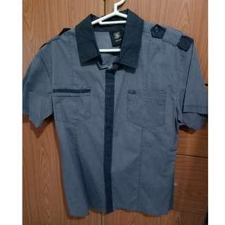Gray short-sleeved button down