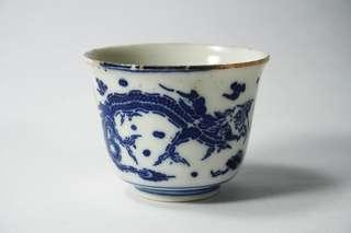 Vintage Old Chinese Blue and White Dragon Porcelain Tea Cup