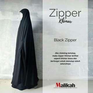 Zipper khimar black zipper by abaya malikah