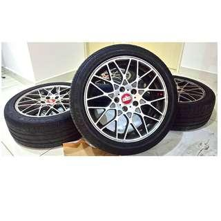 BBS Sport Rim 17 Inch with Bridgestone Tayar Tyre for Civic Inspira Preve Exora