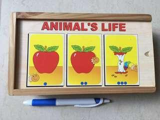 Wooden Sequencing Game: What comes next? Animal's Life
