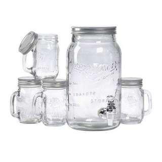 Mason Craft and More Glass 5 Piece Beverage Serving Set(Clear)