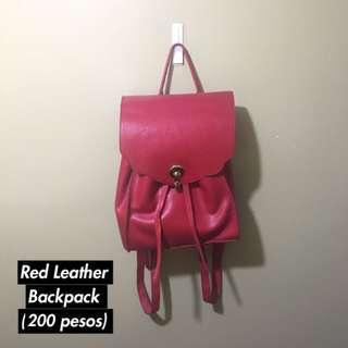 Zalora Red Leather Backpack