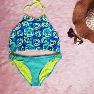 Neon Blue Green Swimsuit