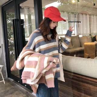 Cozy Pastel Stripe Pullover