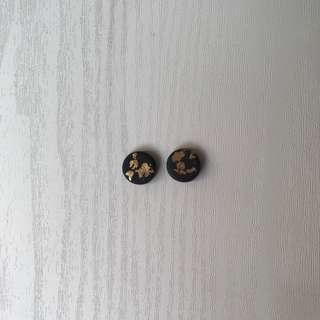 Handmade black gold leaves earrings