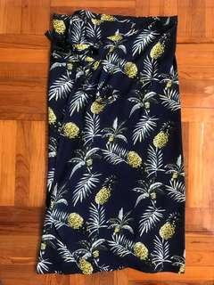 Thailand 🇹🇭 Chiffon Pineapple Wrap Dress 菠蘿綁腰長裙
