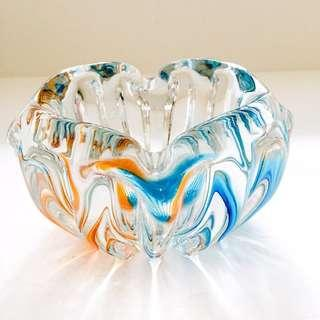 (Sold) Vintage Blue Orange Heavy Coloured Crystal Ashtray Ornament Bowl Container