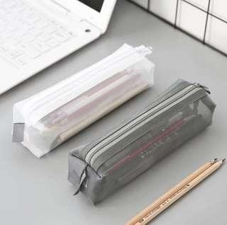 [INSTOCK] Square Muji Style pencil case/ Transparent pencil case/ Muji Style