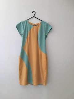 Dual Tone Quality Midi Dress