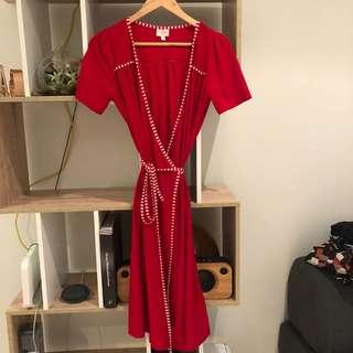 Leona Edmiston red wrap dress, Ruby collection size 1 or S