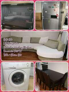 Home Furnitures & Kichen Appliances Package at Casa Tropicana - Sofa, Refrigerator, Panasonic TV, Electrolux Washing Machine, Table, Chairs Set