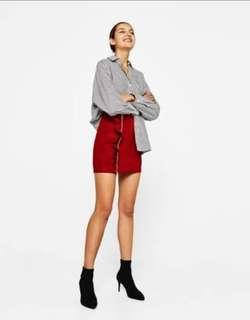 Bershka suede ruffle skirt