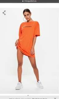 Missguided Oversized orange t-shirt dress