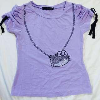 Light Purple Hello Kitty Pattern Top S