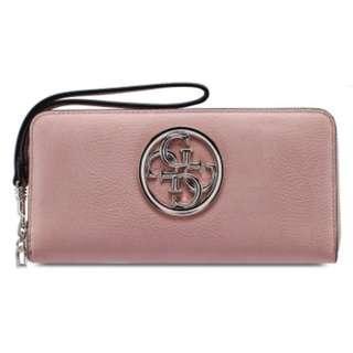 Guess 全新 乾燥玫瑰色 玫瑰色 粉紅色 淡粉色 仿皮 質感 拉鍊式 皮夾 長夾 名牌 精品 Guess皮夾