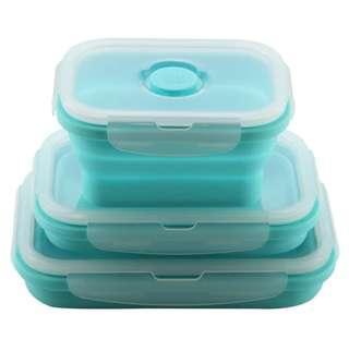 Last ~ 全新 環保 矽膠 保鮮盒 伸縮可摺疊收納午餐食物盒 Silicone lunch box 藍色 1套3件