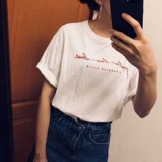 🚚 韓國🇰🇷帶回純棉今年必備草寫t 短袖T恤 上衣