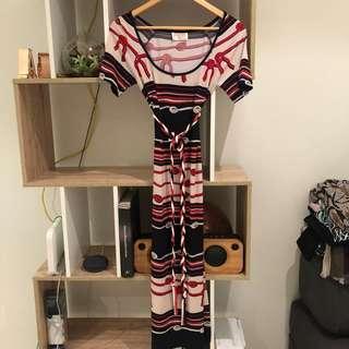 Leona Edmiston nautical dress with rope belt size XS
