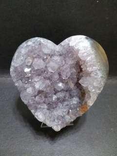天然紫水晶瑪瑙原皮心