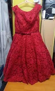 785b 紅色裙,M碼,L41吋 $100