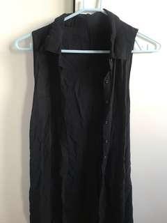 Vintage cotton on button up shirt dress vest