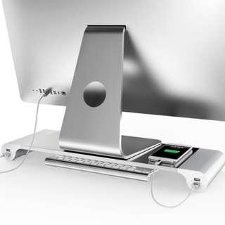 Aluminum Alloy Monitor Stand  Desk Riser - 4 USB Ports