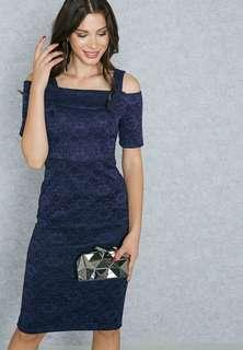 Dorothy Perkins Navy Lace Cold Shoulder Dress