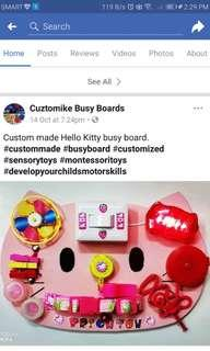 Busy Boards Cuztomike Busy Boards, Hello Kitty themed 8x10 Made to Order