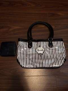 Harrod's stripes shoulder bag & wallet