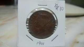 1901 Queen Victoria Straits Settlements one cent
