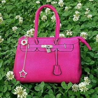 🚚 桃紅色柏金包款手提包 方包-流行高貴時尚名媛女手提包 方包 防潑水