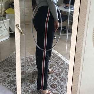 Three stripe drawstring long wide leg pants