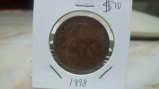 1898 Queen Victoria Straits Settlements one cent