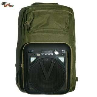 Backpack speaker with powerbank