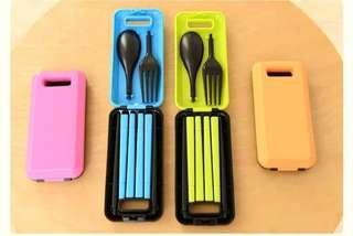 推廣環保,全新便携餐具 連膠盒 3件套 匙勺 叉 筷子 旅行露營