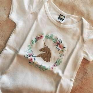 unicorn baby romper glitter