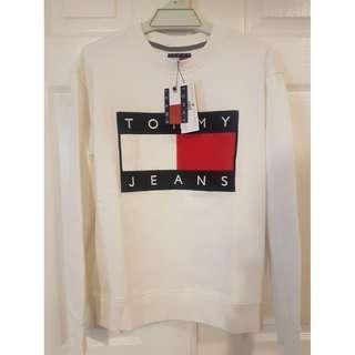 BNWT Genuine Tommy Jeans '90s Oversized Sweatshirt White Womens Sz Small S Hilfiger