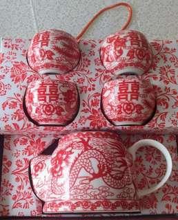 結婚敬茶茶具套裝(有盒) , 結婚敬茶跪墊1對