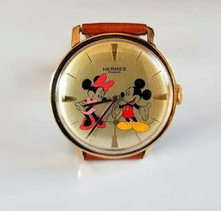JAPAN HERMES MICKEY MINNIE MOUSE WATCH GOOD CONDITION 日本懷舊手錶