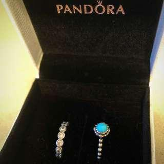 Brand New Pandora Turquoise And Brilliant Cut Ring Set