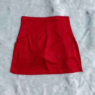 Red Skort with Side Slits