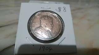 1904 King Edward VII Straits Settlements one cent